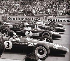 1967 German GP at the Nürburgring: Jim Clark (Lotus), Denny Hulme Brabham), Jackie Stewart (BRM)and Dan Gurney (Eagle) don their goggles before the flag drops. Jackie Stewart, F1 Racing, Road Racing, Grand Prix F1, Subaru, F1 Lotus, Gp Moto, Toyota, Classic Race Cars
