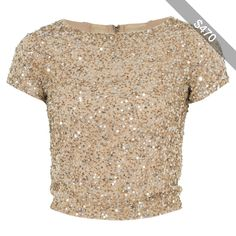 Alice and Olivia Gold Embellished Kelli Crop Top