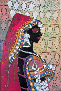 """Check out in Painting in Acrylic on Canvas by Anuradha Thakur of price Rs.21000 (12 X 18 Inches) """"Serene Harmony"""" springs from an artist's meditation on people, on individuals in silent harmony with the place and the culture that they belong to that stems out of moments spent within the experiences of tribal tradition, life and culture. The collection mainly includes paintings of women and men from"""