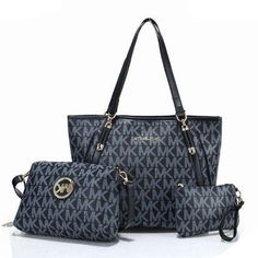 #fashion In love with this Michael Kors Charm Logo Large Black Totes!!!