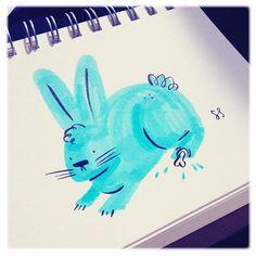 Unlucky rabbit #feedtheanimalspdx #doodle #ink #pdx #rabbit #gallery135 #idlww