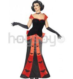 #Disfraz de #vampiresa glamurosa y seductora. Este disfraz incluye: vestido, guantes y gargantilla #Halloween #Disfraces