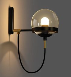 BAYCHEER Industrial Vintage Style Wide Single Light Wall sconces Wall Light Lamp with Glass Globe Shade use 1 Bulb in Black Corridor Lighting, Strip Lighting, Interior Lighting, Modern Lighting, Lighting Design, Lighting Ideas, Luminaire Mural, Deco Luminaire, Luminaire Design