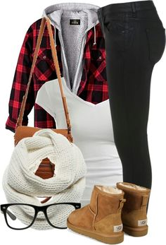 Not a fan of Ugg boots. I'd go with some different ones. Cool idea with the plaid shirt and the hoodie though