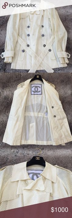AUTHENTIC CHANEL LAZER CUT RAINCOAT AUTHENTIC CHANEL LASER CUT RAINCOAT. Beautifully tailored Creme color with Silver Chanel Logo Buttons. Size 40. Pre Owned. Slightly Worn. Great Condition. CHANEL Jackets & Coats