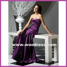 beautiful strapless long stain purple bridesmaid dresses Style 2749