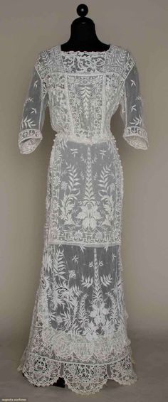 White Embroidered Lace Tea Gown, c. 1912.