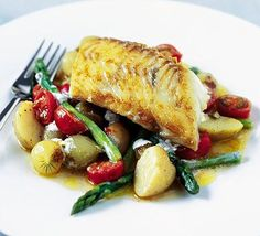 Tasty fish and veg main course, perfect for making an impression at a dinner party, by Gary Rhodes.