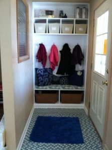 Small Closet to Mudroom, this would look so much better when you walk in!!