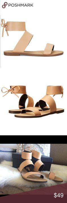 Rebecca Minkoff Nude 'Emma' Modernist Gladiators👡 Your sandal search just ended. Get a load of these perfect minimal leather numbers, with soft leather straps that keep your foot secure (no flip-floppy vibes) and laces at the back that tie into a bow.  Originally purchased from Nordstrom and comes in original box!  Worn with care and perfect for your minimalist wardrobe.  😍 Rebecca Minkoff Shoes Sandals