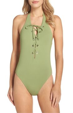 3883e81a82fca Seafolly Active Lace-Up Halter Maillot Moss Swimsuits One Piece US Size 8  0103 #