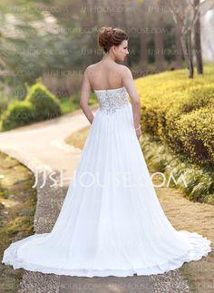 Empire Sweetheart Court Train Chiffon Wedding Dress With Ruffle Beadwork (002012793)