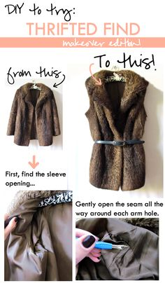 Glitter & Bow: DIY : Thrifted Fur Coat To Vest {click through for full tutorial and to access the Thrift Shopper registry to find thrift stores in your area!}