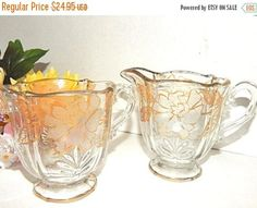 Cream and Sugar Serving Set Clear Glass Creamer and Bowl Gold