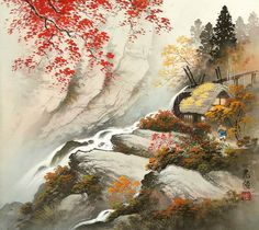 """The spring cherry blossoms and autumn golden trees silently drop onto the ground. Koukei Kojima paints in the style of """"Sansam"""" so called landscape painting . Japanese Ink Painting, Chinese Landscape Painting, Japanese Landscape, Chinese Painting, Chinese Art, Landscape Paintings, Watercolor Paintings, Landscapes, Illustrations"""