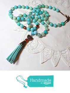 Beach Jewelry, Bohemian Jewelry, Blue Necklace, Tassel Necklace, Artisan Jewelry, Handmade Jewelry, Romantic Gifts For Her, Leather Tassel, Suede Leather