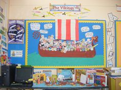 Viking boat Class Projects, Art Projects, Ks2 Display, Ks2 Classroom, Classroom Ideas, Viking Images, Vikings 2, School Displays, Classroom Setting