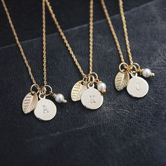 Personalized Gold Initial Necklace Monogram Necklace by AliceandBo