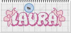 Laura Laços Cross Stitch Letters, Pixel Art, Bullet Journal, Cross Stitch Alphabet, Baby Cross Stitch Patterns, Boy Names, Proper Nouns, Female Names, Cards