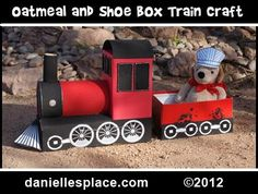 Oatmeal Box and Shoe Box train craft Kids Can Make from www.daniellesplace.com