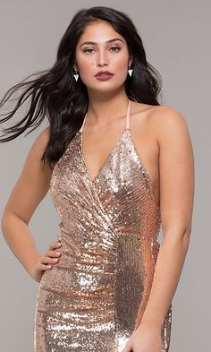 Shop long rose gold sequin prom dresses at PromGirl. Halter prom dresses, v-neck formal dresses in rose gold, and long gold sequin dresses with open backs, ruching, and side slits. Sequin Formal Dress, Fitted Prom Dresses, Sequin Prom Dresses, Plus Size Prom Dresses, Party Dresses For Women, Casual Dresses For Women, Formal Dresses, Classy Dress, Sensual
