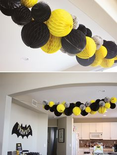 Transform your party room into a caped crusader hang out! Hostess with the Mostess put together a fun black, yellow and gray garland for her Modern Batman birthday party! Grab honeycomb lanterns like these from Party City!