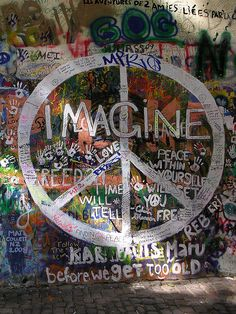 'IMAGINE' and CND peace sign, graffiti on john lennon wall, prague by kejhu, via Flickr