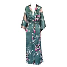 """- 100% Polyester, 19mm - Continuous print throughout sleeves. French seam finish. - Side pockets, sash tie closure, belt loops and inside ties - One Size Fits Most. Fits up to 43"""" at chest & hip. 52"""""""