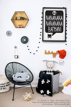 Nananana Batman! || batman print, super hero print, batman, kids prints, nursery decor, super hero print, nursery art, batman print, mono by BlackandTypeDesigns on Etsy https://www.etsy.com/listing/228721727/nananana-batman-batman-print-super-hero