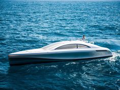 From the side, the stylish yacht resembles a saloon style car, similar to Mercedes Model S-Class.