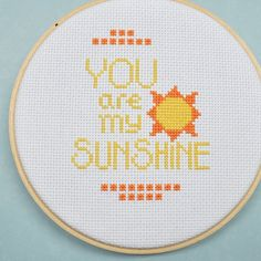 You Are My Sunshine Counted Cross Stitch Pattern Cross Stitch Love, Cross Stitch Alphabet, Counted Cross Stitch Patterns, Cross Stitch Charts, Cross Stitch Designs, Cross Stitch Embroidery, Embroidery Patterns, Embroidery Art, You Are My Sunshine