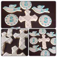 Baby boy christening cookie favors. Dove, monogram circle in white and teal and cream colored Cross with pearlized dusting powder.