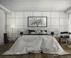 modernes schlafzimmer monochromatisch grau wandplatten deko holz dielenboden nachttische