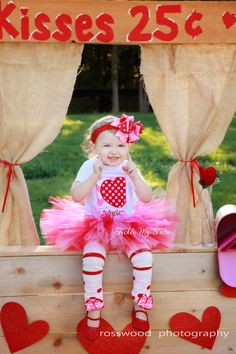 Valentine Chevron Box and Polka Dot Heart Tutu Outfit, My First Valentine's Day Outfit, Valentine's Day Birthday Theme Outfit