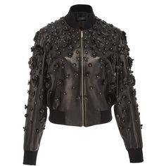 Elie Saab Floral Embellished Bomber Jacket (€4.665) ❤ liked on Polyvore featuring outerwear and jackets
