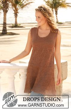 "Knitted DROPS tunic in ""Lin"". Size S - XXXL. ~ DROPS Design"