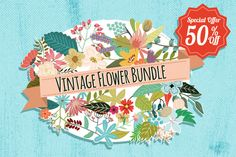 Check out Vintage Flowers Bundle 50% off by Mia Charro on Creative Market