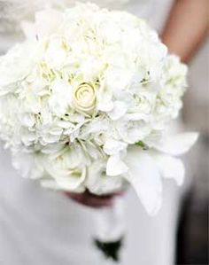 white hydrangea and roses bouquet