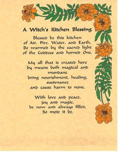 Book of Shadows Spell Pages ** Kitchen Blessing ** Wicca Witchcraft BOS #bookofshadows #wiccan #kitchenwitch #blessings