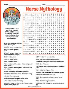 Viking Gods & Goddesses - Norse Mythology Word Search by Puzzles to Print The Words, Cool Words, Norse Mythology Goddesses, Gods And Goddesses, Black History Month Activities, History For Kids, Bullet Journal 50 Page Ideas, Vikings, British History