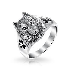 Bling Jewelry Sterling Silver Wolf Head Black Paw Print Howling Silhouette Ring with Free Engraving Black Band Ring, Mens Band Rings, Black Rings, Rings For Men, Wolf Jewelry, Black Jewelry, Animal Jewelry, Animal Rings, Jewelry Rings