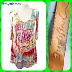Pastel Sublimated Boho Mini Dress Size M or 8/10 Pretty Justified Boho Mini Dress in a pastel floral print with long sleeves and an empire waist. Stretchy throughout. Size M or 8/10. Looks Like New!        💐 Bundle 2 or More Items to Save 15% Off Automatically! 💐 Justified Dresses Mini