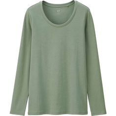 UNIQLO Supima Cotton Crew Neck Long Sleeve T-Shirt ($14) ❤ liked on Polyvore featuring tops, t-shirts, shirts, long sleeves, sweaters, crew t shirt, cotton shirts, cotton t shirt, crewneck t shirt and t shirts