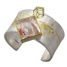 Cuff Bracelet in Sterling & 18K Gold with Quartz 1