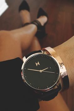 """vividessentials: """" Women's Rose Gold/Black Leather Watch 