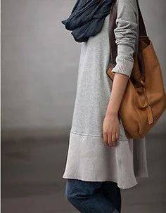 """Cool gray sweatshirt dress with jeans, navy scarf, tan leather bag"" https://sumally.com/p/1198641?object_id=ref%3AkwHNSrSBoXDOABJKMQ%3AN2vF"