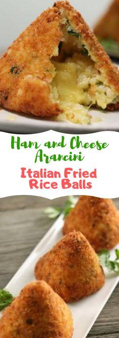 Ham and Cheese Arancini Italian Fried Rice Balls Ham Recipes, Cheese Recipes, Asian Recipes, Dinner Recipes, Yummy Recipes, Healthy Recipes, Cheese Rice, Ham And Cheese, Ham Balls