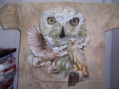 white owl new beige color tye-dye tee shirt size XL #Dye #BasicTee
