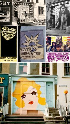 """Granny Takes a Trip was a boutique that opened in February 1966 at 488 Kings Road in Chelsea, London by Nigel Waymouth, Sheila Cohen & John Pearse. It has been called the """"first psychedelic boutique in 'Swinging London' in the 1960s."""" By the spring of 1966, the shop had achieved worldwide renown — a hangout for the rich and famous with fabulous clothes and an ever-changing painted facade."""
