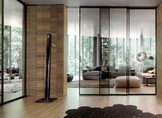 porte coulissante en verre, grand salon moderne avec portes coulissantes